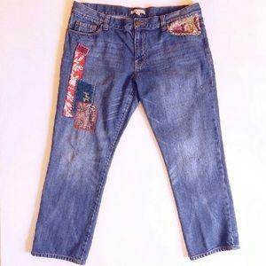 CABI patches jeans straight leg boyfriend jeans